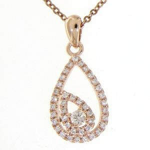 Solid 14K Rose Gold Tiny Pear Diamond Fine Pendant